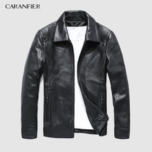 CARANFIER New 100% Sheepskin Fashion Jackets Motorcycle Coat Male Genuine Leather Clothing Design Real Overcoats