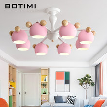 BOTIMI Kids Chandelier With Metal Lampshades For Bedroom Wood Chandelier Lighting White Lustre Modern Children Rooms Lustres(China)