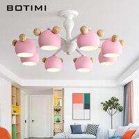BOTIMI Kids Chandelier With Metal Lampshades For Bedroom Wood Chandelier Lighting White Lustre Modern Children Rooms Lustres