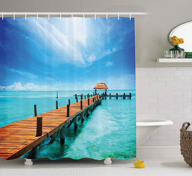 Морская занавеска для душа океанский пейзаж деревянная док-станция Maldives тропический остров морская беседка кабана тема пляжный Декор