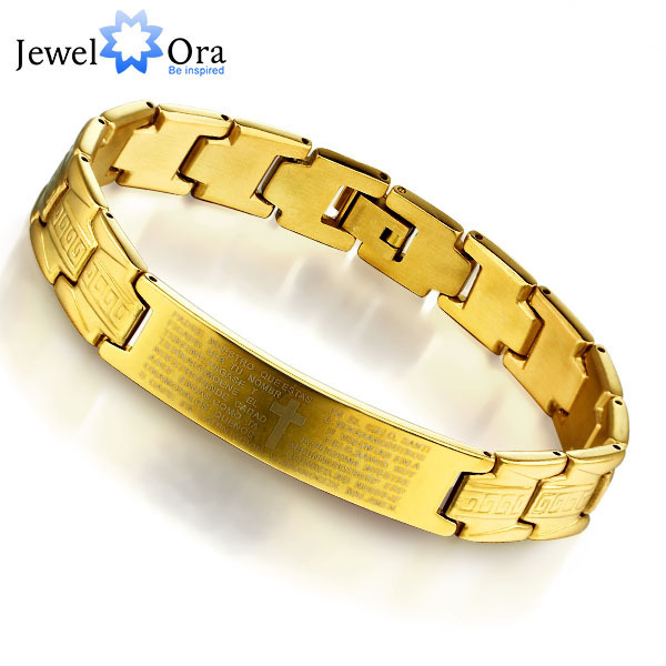 Fashion Steel Man's Bracelet Charming 304L Stainless Steel Gold Color Bracelet for Man Fathers Day Gift(JewelOra BA101132)