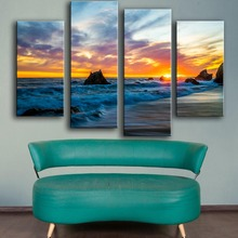 2017 Hot Sale Modern Canvas Unframed New Product Print Painting Wall 4pc/set Coast Sunrises Art Picture For Living Room Decor