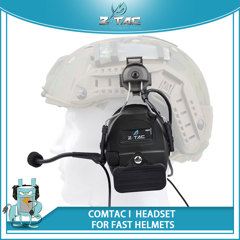 Z Tactical Headset Airsoft Comtac I Noise Canceling Headphone for FAST Helmets with Peltor Helmet Rail Adapter Set Z032 FG acecare l sordin headset for fast helmets helmet accessories rail adapter set