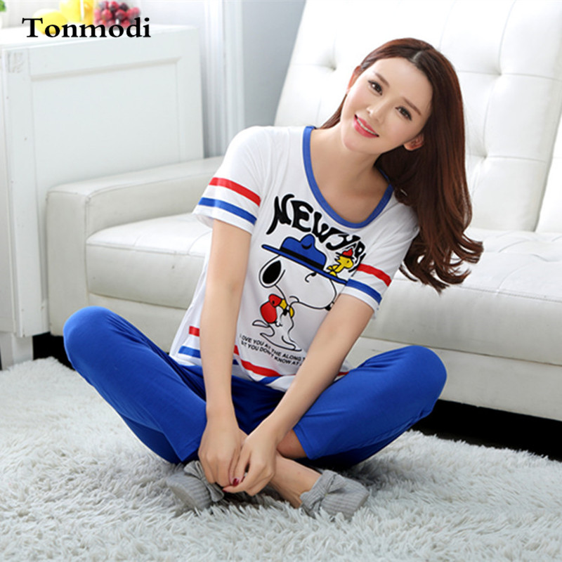 Fashion Pajamas For Women Summer Short Sleeve Cotton Pyjamas Trousers W