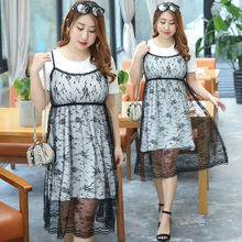 Vagary Plus Size Contrast Summer Dress Women Sexy Lace Cami Dresses With Insert Tee Fashion New Short Sleeve Casual Flare Dress