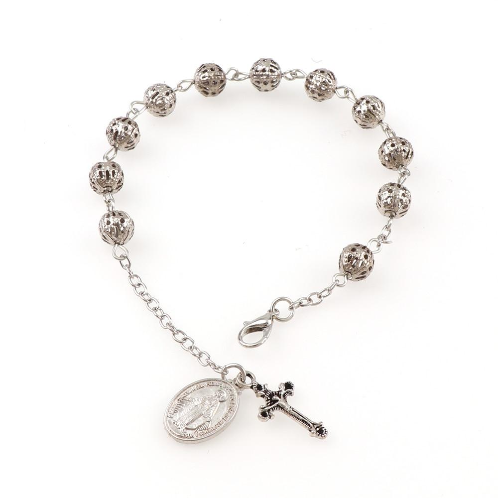 6mm Holle Rozenkrans Catholic Religious Rosary Jesus Charm Bracelets Hollow Bead Rose Bracelet  With Charms Cross Catholic