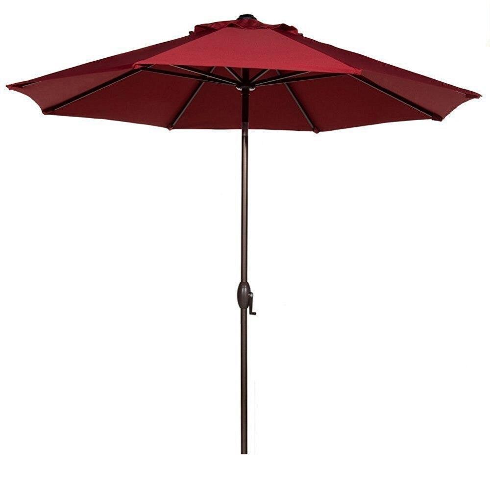 Abba Patio 9' Fabric Aluminum Patio Umbrella with Auto Tilt and Crank 8 Ribs Red abba patio 7 1 2 feet fiberglass rib beach patio aluminum umbrella with 2 sand anchors and push button tilt pacific blue