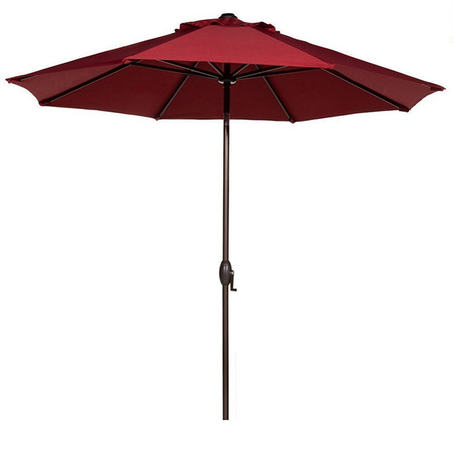 Abba Patio 9' Fabric Aluminum Patio Umbrella with Auto Tilt and Crank 8 Ribs Red