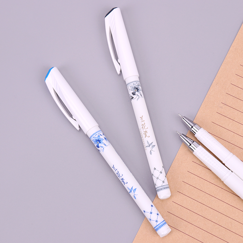 1PC 0.5mm Elegant Chinese Orchid Porcelain Printed Butterfly Flower Gel Pen Writing Signing Pen Stationery School Office Supply  карликовое дерево large orchid flower 20 sementes semente yd34e