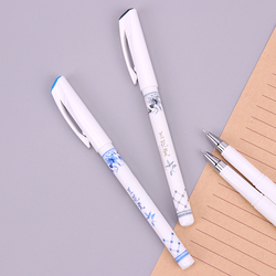 1PC 0.5mm Elegant Chinese Orchid Porcelain Printed Butterfly Flower Gel Pen Writing Signing Pen Stationery School Office Supply