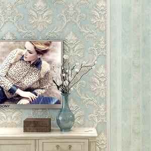 Image 3 - 악세사리 벽지 3 d 빈티지 비 짠 벽지 롤 청록색 다마 벽 종이 꽃 침실 10m