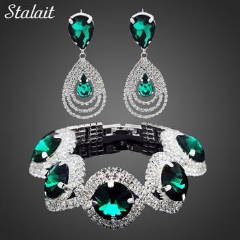 2021 Wedding Bridal Jewelry Sets For Women Rhinestone Crystal Jewelry Set Bracelet Earrings Female Set 2 Pcs Indian Accessories