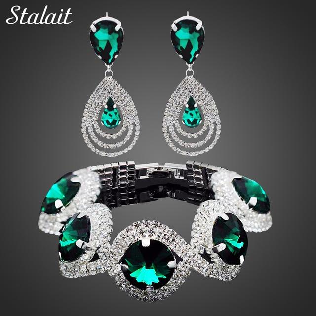 Fashion Wedding Bridal Jewelry Sets For Women Rhinestone Austrian Crystal  Jewelry Set Bracelet Earrings Set Indian Accessories 9cafe6851de8