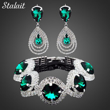 Fashion Wedding Bridal Jewelry Sets For Women Rhinestone Austrian Crystal Jewelry Set Bracelet Earrings Set Indian Accessories(China)