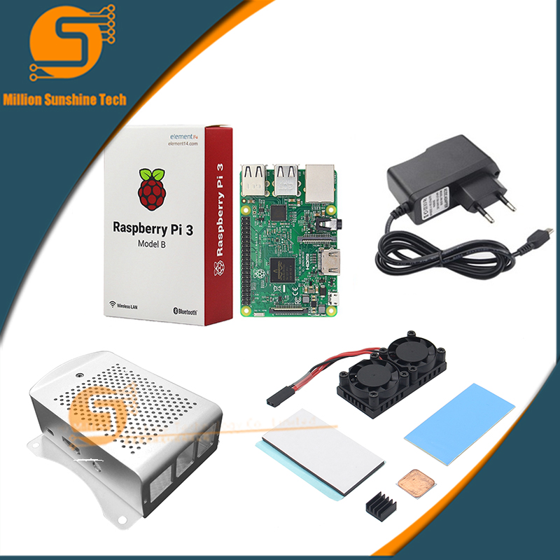 US $56 8 |Raspberry Pi 3 Model B+(Plus)+ Dual Fan Cooling System Module  with Heatsink+AL case for Pi 3B/3B+-in Demo Board Accessories from Computer  &