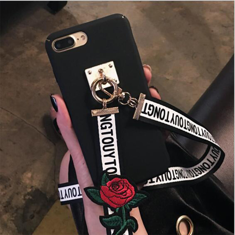 cheaper bb6fa d14c7 US $6.08  Hard PC Embroidered Roses Letters Neck Lanyard Strap Long Chain  Back Cover for iphone 6 6s Plus 7 Plus 5 5s SE Moblie Phone Case on ...