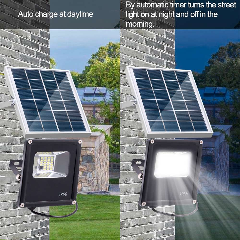 New Waterproof Solar Floodlights 20W Remote Control + Timer + Lighting Control Outdoor Lighting LED Spotlight Garden Lamp