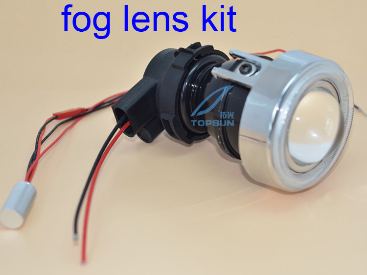 GZTOPHID  Xenon Fog Lamp Retrofit Projector Lens fog lens with cover,COB angle eyes and 35W H3 HID bulbs Universal for all cars