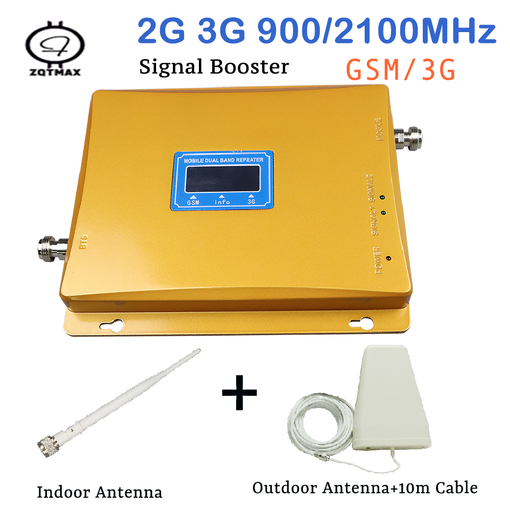 Dual Band Signal Gsm Repeater 2G 3G Mobile Signal Repeater GSM 900MHz UMTS 2100MHz WCDMA Cellular Signal Booster Antenna Kits