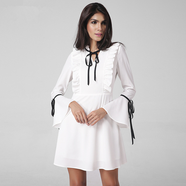 VITIANA Brand Women 2017 Spring White Short Casual Dress Ladies Elegant Long Sleeve Sexy Mini White Party Dresses