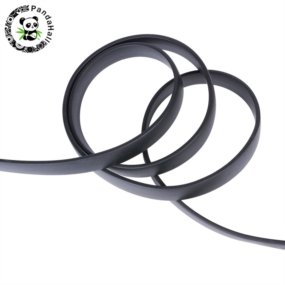 Synthetic Black Flat Solid Rubber Beading Cord For Bracelet Necklace Jewelry Making DIY 6x2mm 8x2mm 10x2mm 1m/strand,10Strands