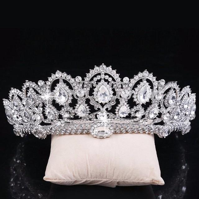 Vintage Big Rhinestone Cristal Da Coroa Da Rainha do baile de Finalistas Quinceanera Pageant Tiaras Jóias Cabeça de Noiva Acessórios Do Cabelo Do Casamento Da Noiva