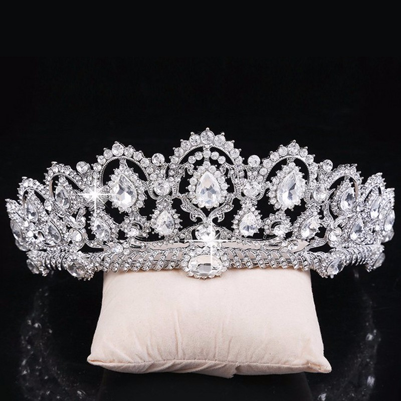 Vintage Big Rhinestone Prom Queen Crown Crystal Bride