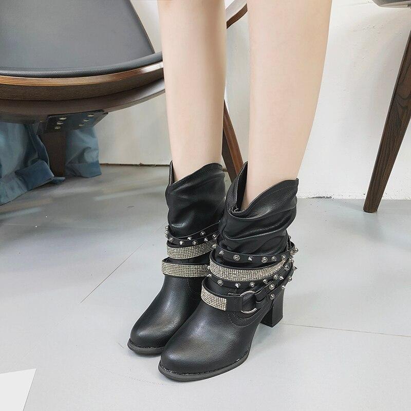 2018 Courtes marron Q649 De Plus Chaussures Noir Tendance Brillant Taille Rétro Bottes Loisirs jiaotangse Mode Talon gris khaki Punk Haute Sexy Cheville La Femmes Rivets rC1OxHr