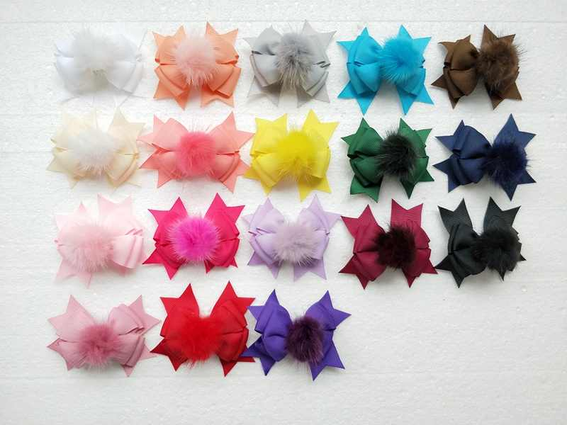"50pcs women girl 3.5 "" pom pom layer hair bows clips  fur pompon headwear sweet pompoms hair accessories Hairpins GR105"