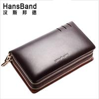 HansBand 2017 Men Wallet Genuine Leather Purse Fashion Casual Long Business Male Clutch Wallets Men's handbags Men's clutch bag