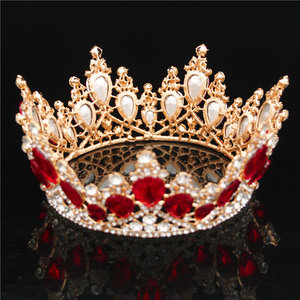 Image 5 - Baroque Crystal Crown Bridal Queen Tiara Diadem Prom Party Wedding hair jewelry Tiaras and Crowns Headband Head Ornaments