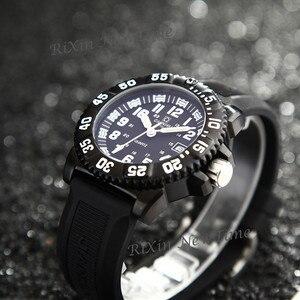 Image 5 - Top marka luksusowe tryt podświetlany zegarek kwarcowy mężczyźni wodoodporna sport mężczyźni zegarki pełna stal zegar tryt światła uhren damen saat