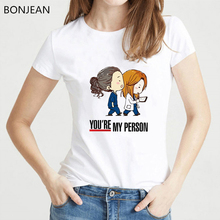 New 2019 Summer Cartoon Greys Anatomy T-shirts Women Youre My Person Letter T Shirt femme Short Sleeve tshirt female White Tops