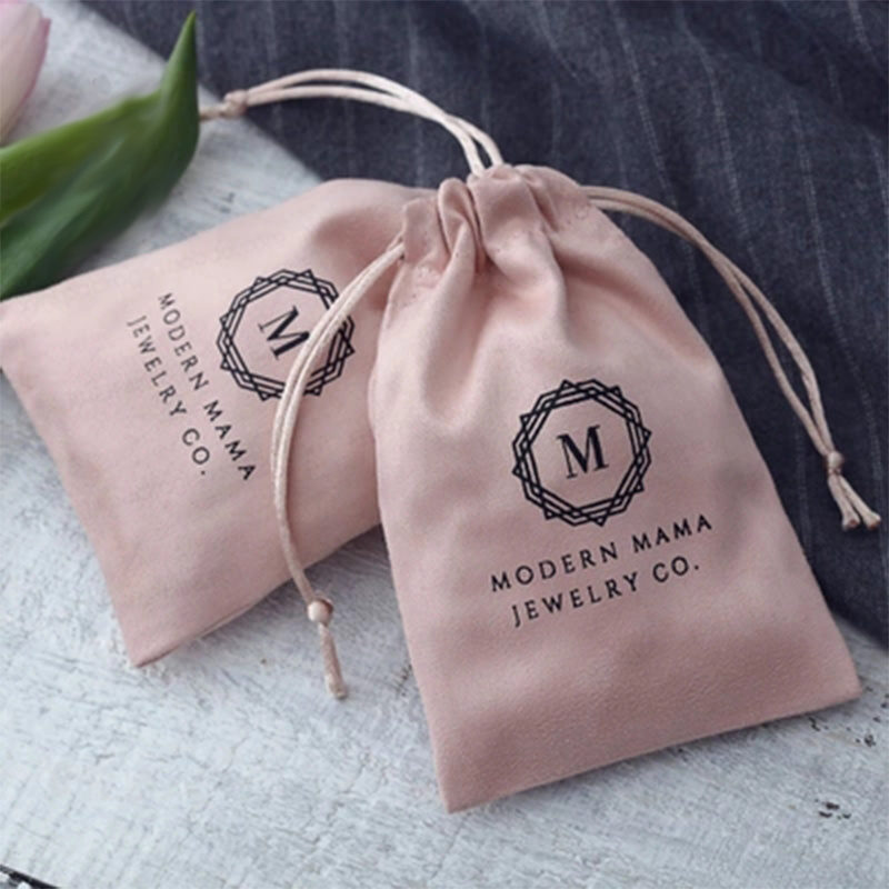 50Pcs/lot Jewelry Gift Bags Pink Flannel Drawstring Pouches Wedding Jewellery Packaging Favor Cosmetic Bags Can Custom Size/Logo