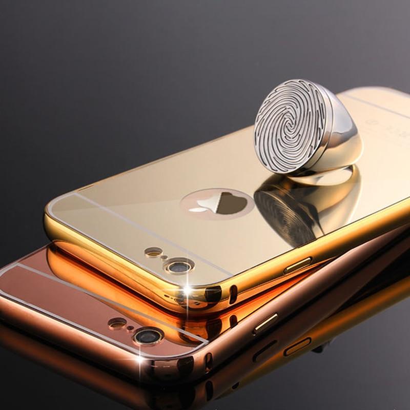 Coque Pour 5c De Luxe En Aluminium Miroir Cas Pour Apple iPhone 5c métal Cadre Rose Or En Aluminium de Couverture Arrière Pour l'iphone 5 C Fundas