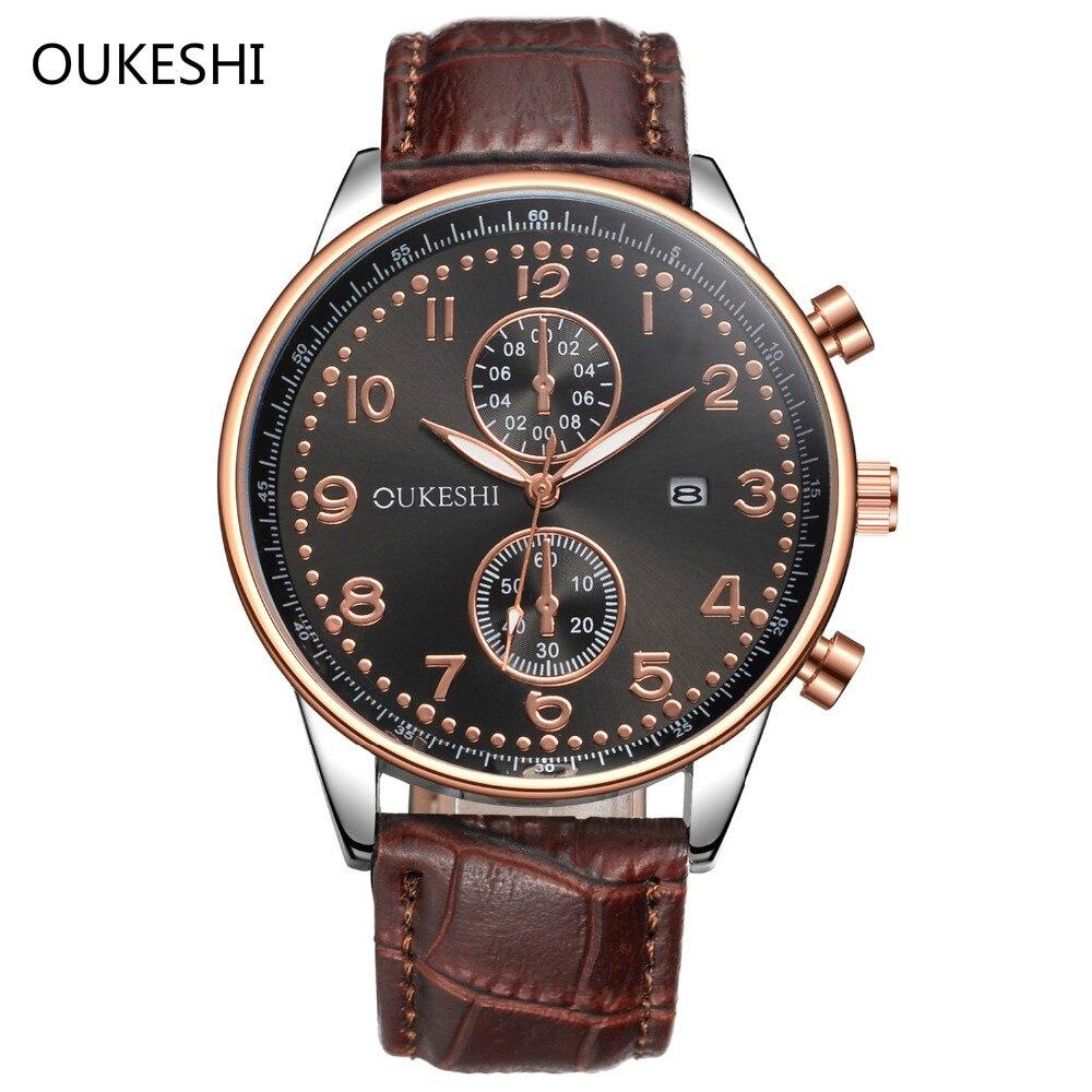 OUKESHI Men Watch Classic Business Calendar Quartz Leather Wristwatches waterproof Clock watches Dress Relogio Masculino