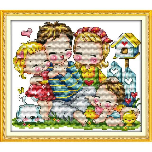 Alegría Domingo estilo de dibujos animados una familia feliz Navidad ...