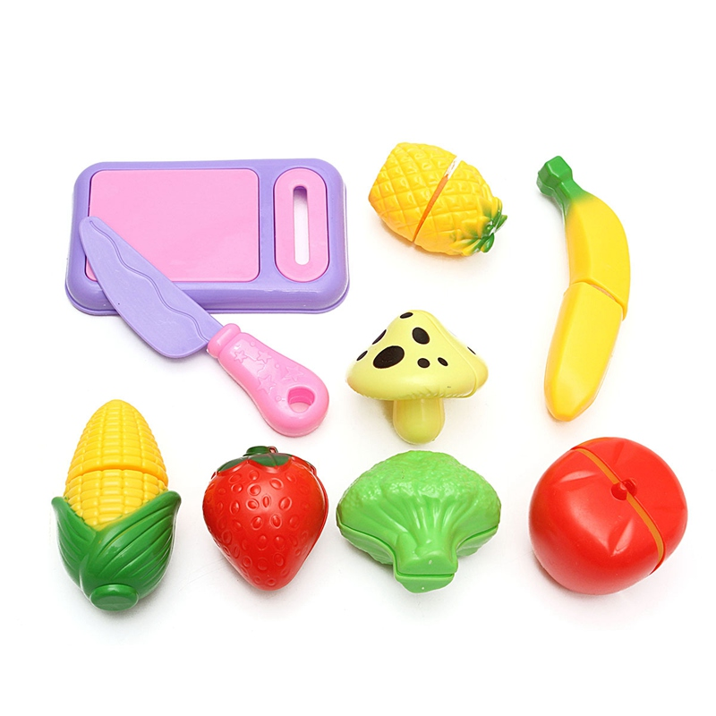 9Pcs/set Colorful Miniatures Plastic Kitchen Fruit Vegetable Food Cutting Set Toys For Children Pretend Role Playing Toy Gift