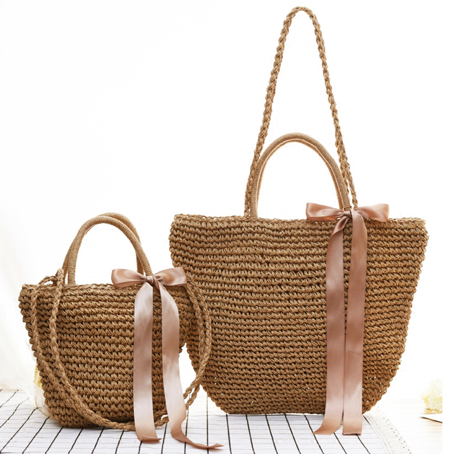 2018 Women Ribbon Bow Straw Bag Beach Totes Ladies Handmade Casual Handbags Female's Woven Crossbody Bag Travel Shopping Bolsos