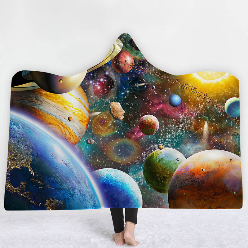 Hooded Blanket New 3D Blanket 3D Printing Colorful Planets Hotel Home Wearable Blankets Portable Hooded Blanket Quality