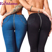 Sexy Push Up Jeans With Zipper In The Back Black High Waist Skinny Jeans Femme Ladies Denim Pants Stretch Jeans Woman