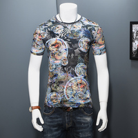 2017 Summer Men T Shirts Hollow Breathable Slim Fit T Shirt Mens Short Sleeve Ice Silk
