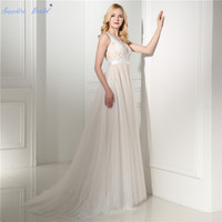 Sapphire Bridal 2018 New Simple light Weight Tulle Illusion Neck Beach Bridal Gowns A Line Champagne White Ivory Wedding Dresses