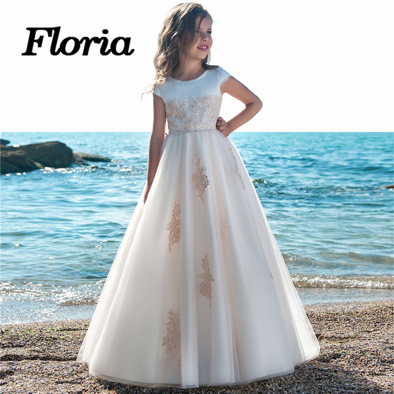 Simple First Communion   Dresses   For   Girls   Kids Pageant Gowns 2018 Vestidos daminha Arican Muslim   Flower     Girl     Dresses   For Weddings