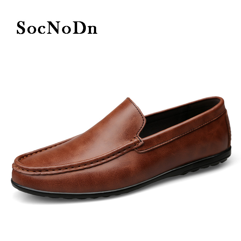 909cff490 SocNoDn Men s Leather Shoes 2018 Spring Summer Casual Shoe Male Fashion  Leisure Loafer Flats Footwear Moccasins Boat shoes