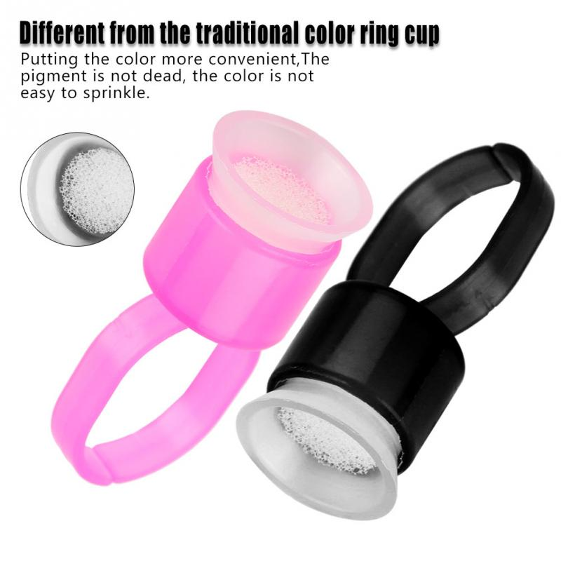 50pcs/100pcs Tattoo Ink Black Pink Cap Ring Pigment Ring Cup With Sponge Tattoo Accessories Microblading Pigment Holder Clean Beauty & Health