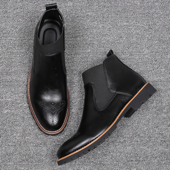 JUQI Men Chelsea Boots Slip-on Waterproof Ankle Boots Men Brogue Fashion Boots Microfiber Leather shoes Big Size 38-48