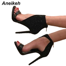 Aneikeh Women Sexy Black Rhinestone Gladiator Sandals Ankle