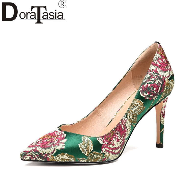 DoraTasia 2018 silk upper embroider pointed toe spring pumps women shoes sexy thin high heels slip on wedding shoes woman white lace embroider women shoes slip on high heels glaze surface metal thin heel pumps female wedding dress shoes pointed toe