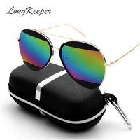 LongKeepre Women Sunglasses Split Mirrored Lenses Design Sunglasses Female Mens Big Frame Metal Hot Shades With